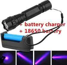 New WF-501B 375NM UV Ultra Violet LED Flashlight Black Light 18650 Charger OUY