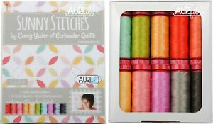 Aurifil Thread 12 wt Cotton 10 small spools Sunny Stitches by Corey Yoder