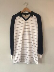 Vintage erima Long Sleeve Striped Football/Soccer Jersey. Large. West Germany