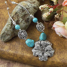 charm Women's Fashion Flower Tibetan silver Turquoise Necklace Pendant XP0005