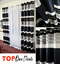 AMAZING NEW PAIR READY MADE STRIPED CURTAINS RING TOP VOILE NET CURTAINS PANELS