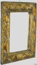 "Tramp Art /Folk Art Mirror Frame Hand Crafted Wood Frame circa 1900 - 21.2"""