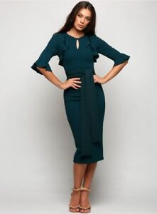 NWT $270 PASDUCHAS green Grove ruffle belted midi dress / sz 8