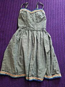 Superdry denim blue strappy mini dress casual everyday wear size XXS