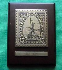 Original Commemorative BRONZE PLAQUE Statue of Liberty USA 15 cent Stamp