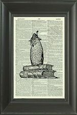 ORIGINAL - Owl on Books Vintage Dictionary Art Print - Wall Hanging - NO.5D