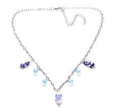 Carismático Turquesa Con cuentas & Chrome Collar/Tinta Azul Flor Blanca Piedra (Zx73)