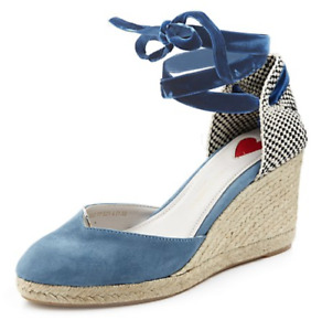 Lulu Guinness Lupin Suede Heeled Espadrille, Size 4/37, Sky Blue, NEW (£135!)