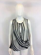 WAYF Women's Black White Striped Sheer Sleeveless Top Blouse Size: M