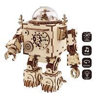 ROBOTIME 3D Holzpuzzle mit Lichter Mechanische Modell Spielzeug hölzernes Modell