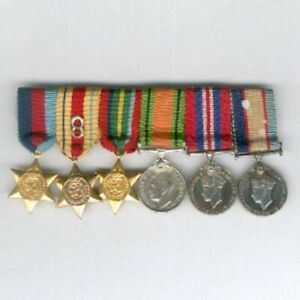 Period World War II Australian 8th Army Miniature Group of Six, bar mounted
