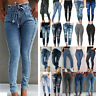 Women Plus Size Slim Fit Denim Trousers Stretch Skinny Ripped Pants Casual Jeans