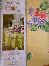 Waverly Field of Flowers Tablecloth Vinyl 60x84 Oval Garden Room Yellow NEW