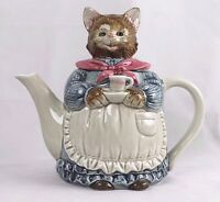 Vintage Otagiri Japan Tea Pot Hand Painted Porcelain Mother Cat Teapot