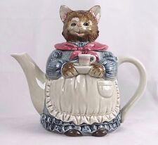 Vintage Otagiri Japan Tea Pot Hand Painted Porcelain Mother Cat Teapot