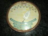 HTF Vintage Gilbey's Gin Thermometer Sign / Gas Oil Soda / Gilbey's