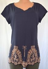 VDP BLUE CLUB 100% COTTON SHORT SLEEVES SCOOP NECK TOP SIZE 50