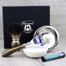 Grooming Shaving Set Badger Hair Brush & Safety Razor Alum Beginner Starter Kit