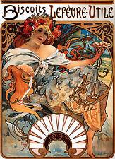 Alphonse Mucha LARGE A3 Biscuits Lefèvre-Utile Art Nouveau POSTER & FREE Print