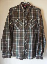 QUIKSILVER Plaid Tartan Button-Up Men's SHIRT, Kaki Green, Turquoise, Size Small