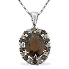 Natural Smoky Quartz Oval Cut & White Topaz 925 sterling silver pendant & chain