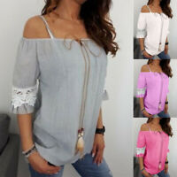 Womens Boho Off Shoulder Strappy T-shirts  Short Sleeve Summer Loose Blouse Tops