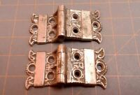 Antique Ice Box Door Hinges PAIR Victorian Cast Brass Nickle Plated Circa 1900