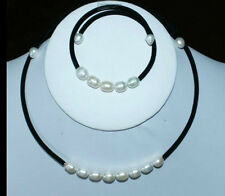 7-8MM White Akoya Cultured Pearl Necklace bracelet Set