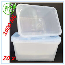 20X PLASTIC TAKE AWAY RECTANGLE FOOD SAFE CONTAINER CONTAINERS 1000ML BPAFREE AP