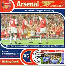Arsenal 2002-03 Birmingham City (Thierry Henry) Football Stamp Victory Card #202