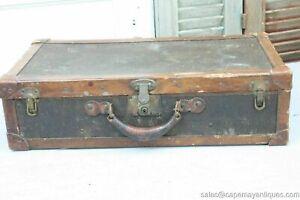 Antique Luggage Suitcase Brown Striped Paper Interior Original Latches Corbin
