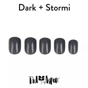 RED ASPEN Reusable Pop On Nail Dashes Short Square Shiny Dark Stormy Gray