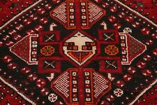 Antique Geometric Tribal Oriental Abadeh Area Rug Wool Hand-Knotted Red 7x10