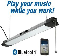 LED Shop Light with Bluetooth Speakers Hanging Work Chain Brushed Nickel Garage