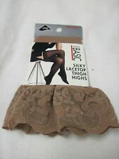 e37ce850efeea NIP SIMPLY BASIC SILKY LACETOP THIGH HIGHS ONE SIZE FITS ALL BEIGE NYLON  LYCRA