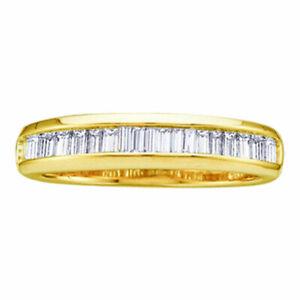 10k Yellow Gold Womens Baguette Diamond Wedding Anniversary Band 1/6 Cttw