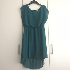 Womens Teal Chiffon Short Sleeve Mermaid Tail Dress Size M NWOT