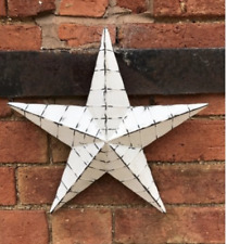 34cm White Washed Metal Amish Barn Star Rustic Hanging Shabby Chic Tin Large