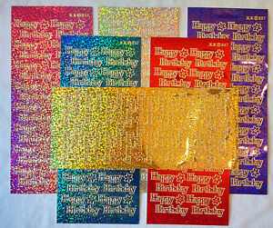 Diamond Holographic ' Happy Birthday ' Peel Off Stickers. Card Making & Crafts.
