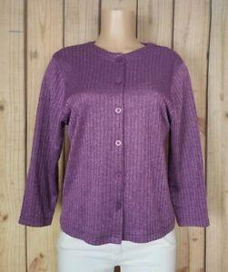 BON WORTH Womens Size XS Petite 3/4 Sleeve Shirt Button Ribbed Purple Sweater