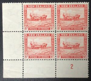 NEW ZEALAND 1935 PICTORIALS 6d. PLATE 2 PERF 12,5 BLOCK OF 4 WITH RE-ENTRY UHM