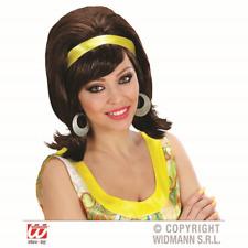 60S Mod Wig Brown Brunette Yellow Ribbon 50s Ladies Go Go Girl Fancy Dress