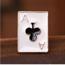 Ace of clubs Metal Pin Badge poker blackjack croupier suit brooch badge enamel
