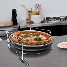 Set Cottura Pizze 3 Ripiani Con 3 Teglie Pizza e Supporto Forno Teglia 29 Cm