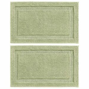 "mDesign Soft Microfiber Non-Slip Spa Mat Rug, 34"" x 21"", 2 Pack - Sage Green"