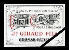 Vintage French Perfume Label Antique Original 1900 J. Giraud Fils Paris - Grasse