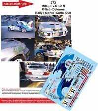 DECALS 1/18 REF 0273 MITSUBISHI LANCER EVO VI GILLET RALLYE MONTE CARLO 2000 WRC