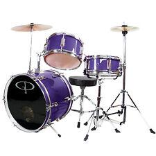 New Gp Percussion Gp50Mpr 3-Piece Complete Junior Drum Set For Kids, Purple