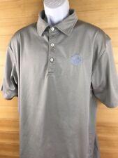 Men's DUNNING Striped Short Sleeve Gray Golf Polo Shirt Size XLARGE