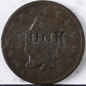 """1833 Coronet Large Cent Good Counterstamp Obv and Rev, """"Buck"""""""